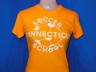 vtg 70s CONNECTICUT SOCCER SCHOOL BLUE BAR CHAMPION YELLOW t-shirt YOUTH LARGE