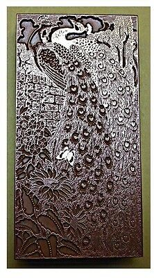 """art Nouveau Style Peacock"" Printing Block."