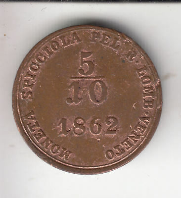 Italy Lombardy 5/10 Cent 1862 Copper      301Z       By Coinmountain