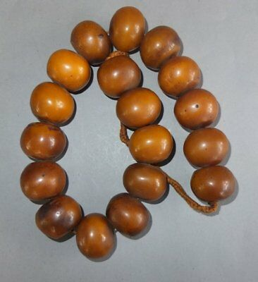 Heavy Necklace Strand Large Natural Resin Beads Nepal