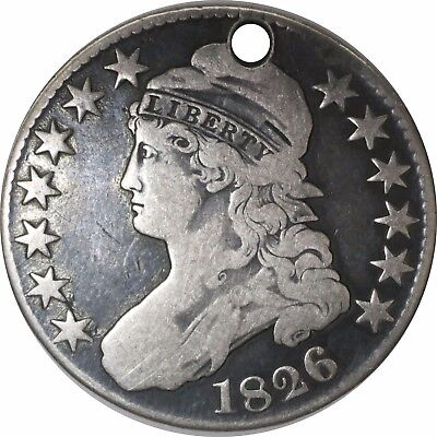 1826 50C Capped Bust Silver Half Dollar Circulated Holed No Reserve