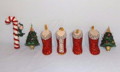 Lot 7 VTG Sequin Bead Christmas Ornaments Candy Cane w Elf Boots Trees