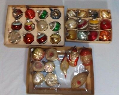 Lot 34 VTG Antique Christmas Ornaments Indents Figures Poland Germany USA
