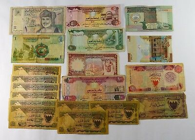 Lot Of 19  - Older Middle East Nations Currency - Vg To Vf