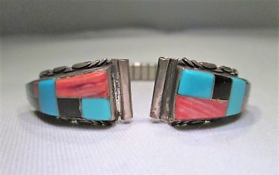 Estate Vintage Sterling Silver Turquoise Inlay Watch Tips EM982
