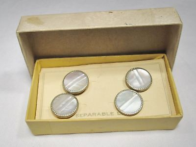 Antique Vintage Mother of Pearl Snap Cuff Links Original Box & Card 8919