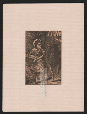 Little Red Ridinghood and The Big Bad Wolf MATTED c1882 Print