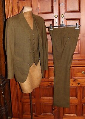 VTG 3 PC BROWN GREEN WOOL SUIT PANTS VEST JACKET SMALL 36 27W  60s