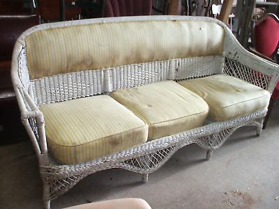 White Wicker Sofa Coastal Chic Lake House Chic Vintage Antique Art Nouveau