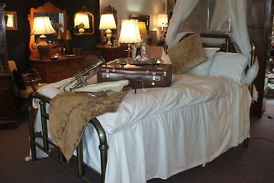 Early Double Full Brass Bed Vintage Antique Tubular Art Nouveau