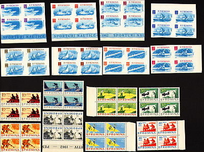 8 Full Set In Block With 4 Stamps / Old Romania 1962 - Mnh