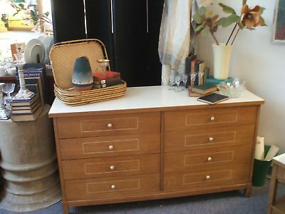 Mid Century Modern White Formica Top Dresser Flat Screen TV Stand Walnut