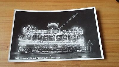Old Postcard- Illuminated Car Portsmouth & Southsea-Rp-King George V-1910-1935