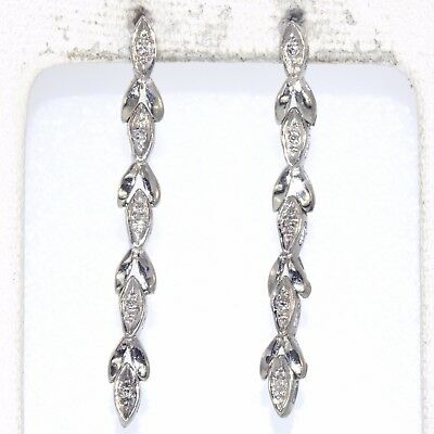 Estate Diamond Drop Danagle Earrings 14K White Gold Fine Natural Round Cut