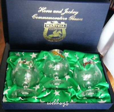 Martell Cognac 2002 Ltd Edition Horse Racing Grand National 3 Glasses In Box