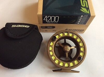 Sage 4250 Fly Fishing reel; 5/6/7 weight line, Bronze finish, lexcellent.