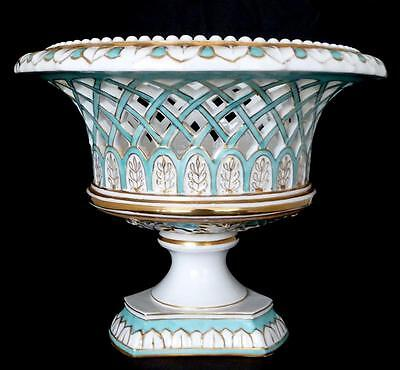 "Old Paris Center Bowl, Reticulated Compote 8.5"" h. Antique French Bowl on Stand"