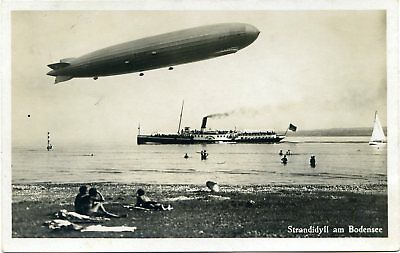 Graf Zeppelin Airship Over Bodensee - Germany - Old Real Photo Postcard View
