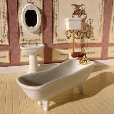 1/12 Dollshouse 4Pc High Level De Luxe  Porcelain White Bathroom Suite