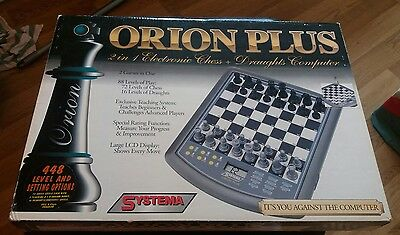 Orion Plus 2 In 1 Electronic Chess & Draughts Computer Systema Complete Rare