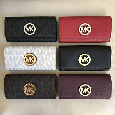 NWT Michael Kors Fulton Flap Continental Leather PVC Wallet Various Color