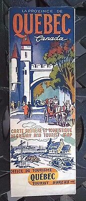 1941 Quebec Province-issued Vintage Road Map / Great Cover Graphics