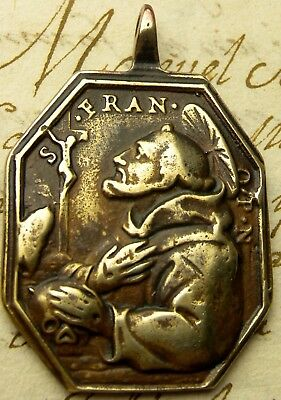 Franciscan Monks Antique St. Francis Receiving Stigmata Memento Mori Skull Medal