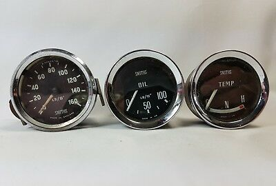 Vintage Lot of 3 Smiths Oil Pressure Temperature Gauges (one from an MG ?)