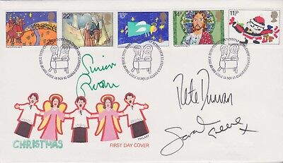 Gb Stamp 1981 Xmas Fdc Signed Blue Peter Simon Groom Peter Duncan & Sarah Greene
