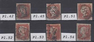 6 x 1841 1d. red-brown SG 8 plates as illustrated.