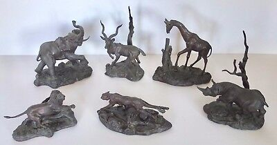 Set Of 6 Franklin Mint East African Wildlife Animals All Signed Don Polland 1976