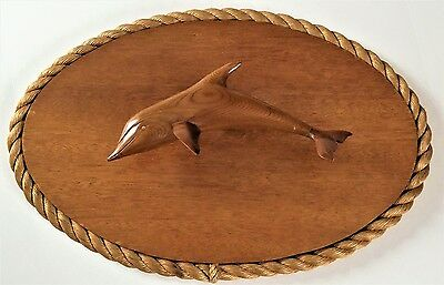 VINTAGE Wall Art WOOD Carved DOLPHIN FIGURAL Rope Artist Signed Martens 1978