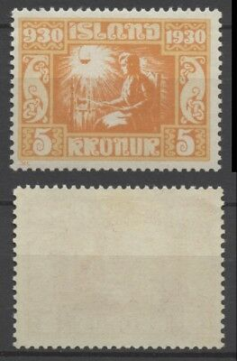 """No: 49746 - ICELAND (1930) - """"PARLIAMENT"""" - AN OLD 5 KR STAMP - MINT HINGED!"""