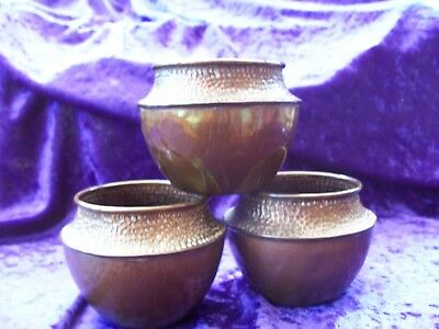 3 Vintage COPPER Pots ARTS & CRAFTS Style
