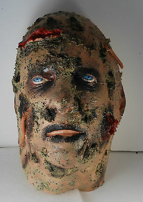 Scary ZOMBIE WITH WORMS Mans Rubber Head Halloween Decoration Realistic Face New