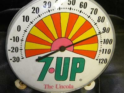 Neat Original Seven 7 UP Glass Face Thermometer Sign Jumbo Dial