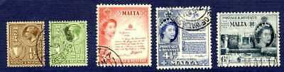 MALTA #131,132,252/254-MISCELLANEOUS Group of 5-USED