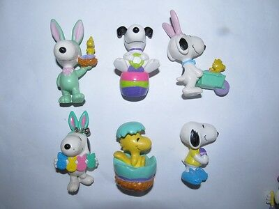 6 x Snoopy Easter PVC Figures  - EXC COND !!