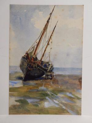 REALLY old PAINTING water colour sea sail boat