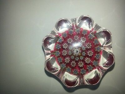 JOHN DEACONS RED GLASS SCOTLAND MINI 50mm MILLEFIORI SIGNED CANE PAPERWEIGHT