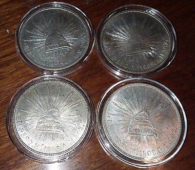 Mexico 1908 1909 Mo G.v. Un Peso Cap & Rays Silver Coin Lot Of 4