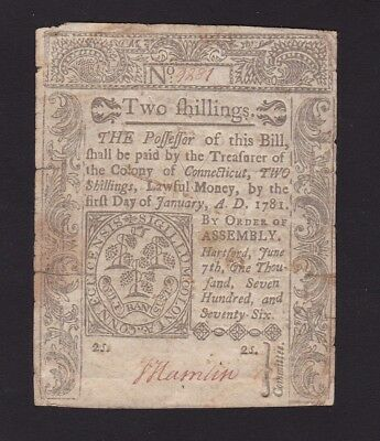 Connecticut Two Shillings Note June 7,1776
