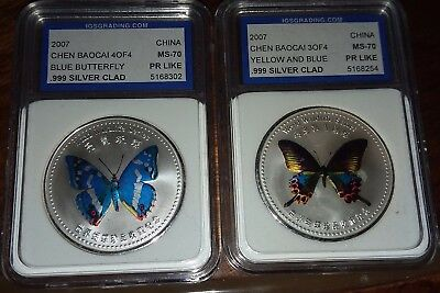 2 Pc. 2007 China Chen Baocai .999 Silver Clad Butterfly Series