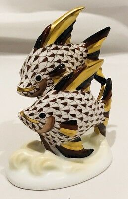 Herend Angel Fish Black Chocolate And Gold Fishnet 15273