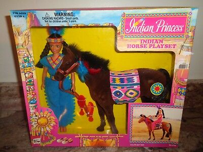 """Toy Things Indian Princess Playset Indian Girl & 8"""" Horse ~ NEW"""