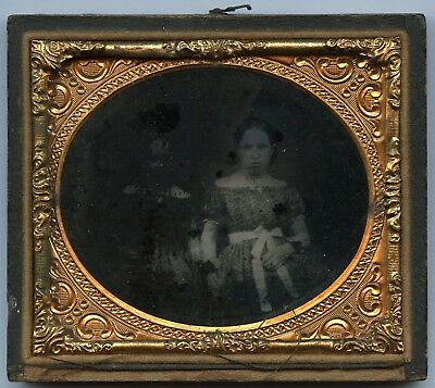 ~1850s Ruby 1/6 Pl. Ambrotype, Young Girl & Rubbed-out Girl (Why?) Beside Her