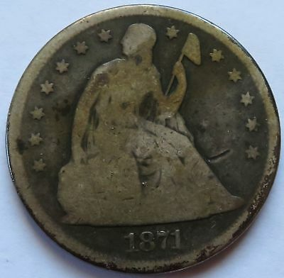 1871 Seated Liberty Silver Dollar coin, Vintage $1 Better Date  (141837P)