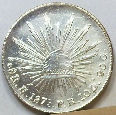 Mexico 8 Reales 1875 H-PR  Brilliant Uncirculated NO RESERVE