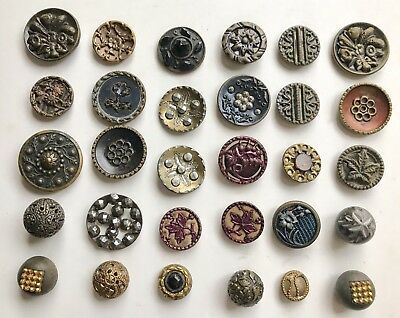 Antique Victorian Small Metal Buttons Mixed Lot Of 30 Some With Other Materials