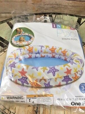 "New Intex Inflatable 2 Ring Kiddie Pool Kids 48"" Star Design in Package Sealed"